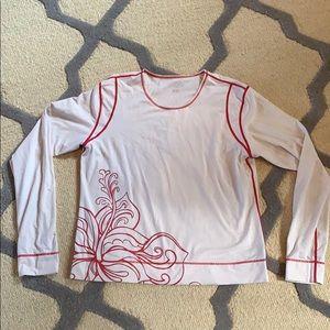 Athleta White & Pink Rash Guard Top Shirt Large